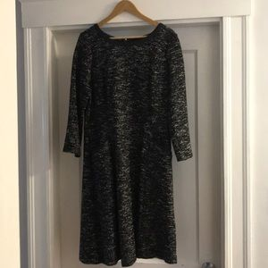 Tweed dress with leather trim